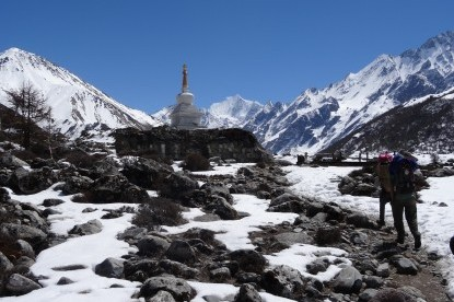 Trekking to Kyangjin Gompa passing the Stupa.