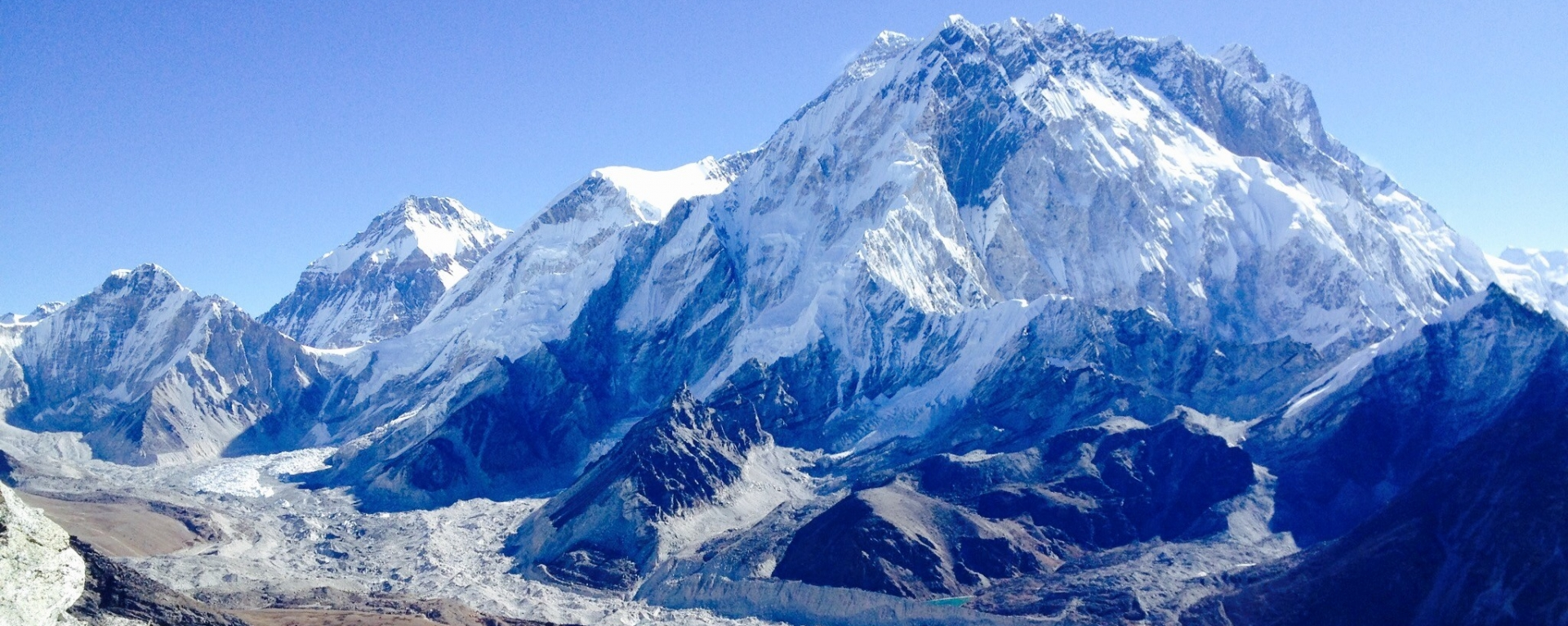 Mt. Everest, Nuptse ridges and Khumbu glacier view from Lobuche peak