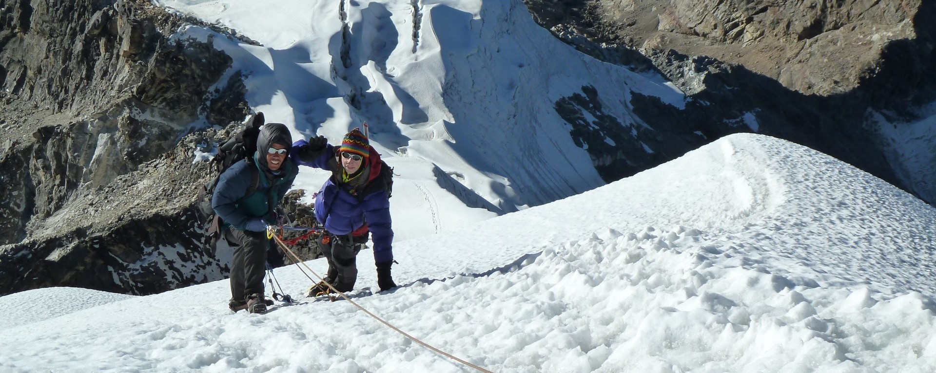 Ascending to Lobuche Peak (Mr. Andy and Tendi Sherpa).