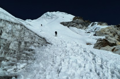 Repelling on lobuche peak.