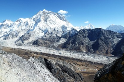 The view of Khumbu glacier, mt. Everest and Makalu.