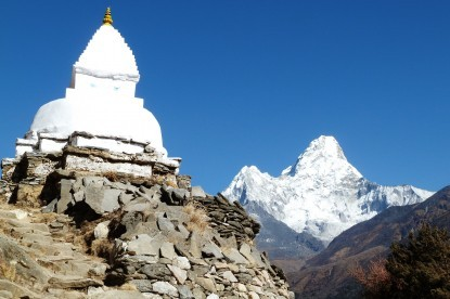 A chorten with Mt. Amadablam view.