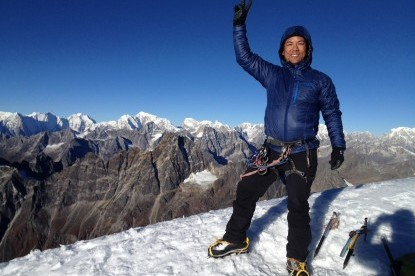 Chhiree Sherpa at the summit of Lobuche peak.