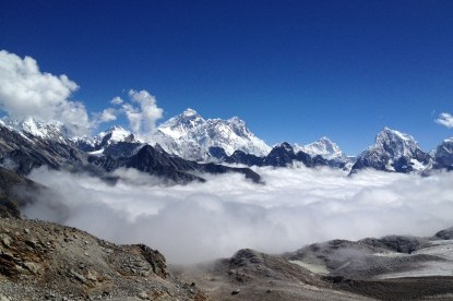 The panoramic view of Everest from Renjo pass.