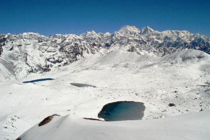 The lakes and distance view of Mt. Kanchenjunga.