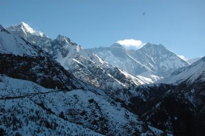 View of Mt. Everest, Mt. Lhotse, Mt Nuptse