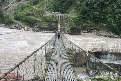 Suspension bridge over Arun River near Num.