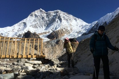 While crossing a wooden bridge at Base camp