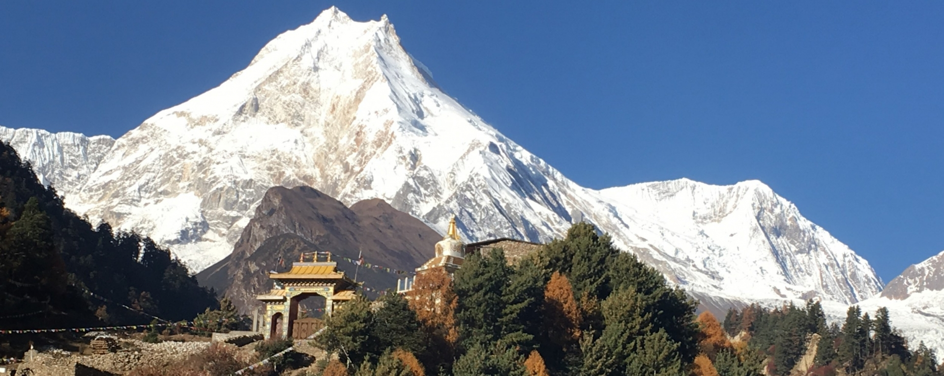 The view of Mt. Manaslu from Lho gaun.