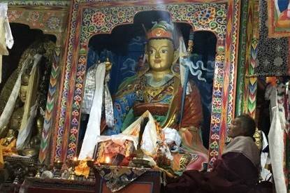 The statue of Guru Rinpoche at the Samagaun Monastery.