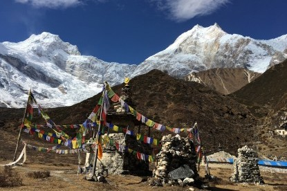 Closeup view of Mt. Manaslu from Pungyen Gompa