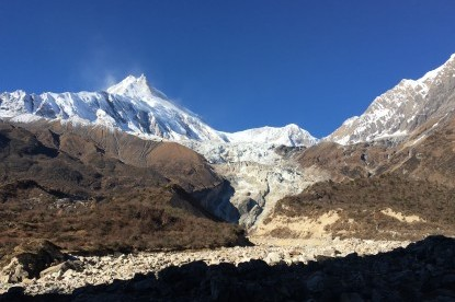 The view of Manaslu and Manslu north mountains on the way to Samdo
