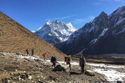 Trekkers reaching the Larkye Phedi