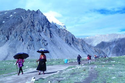Tibetan Pilgrims on foot around Mt. Kailash