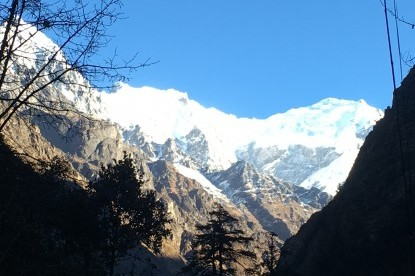 Langtang mountain ranges. At Naya Kang peak climbing in Nepal