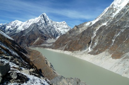 Tsho Rolpa glacier lake in Rolwaling valley.