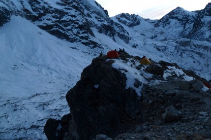 Camping at higher camp of Trolambau glacier.
