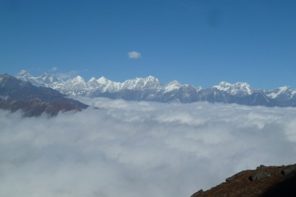 The mountain ranges of Everest Region from Pikey peak.