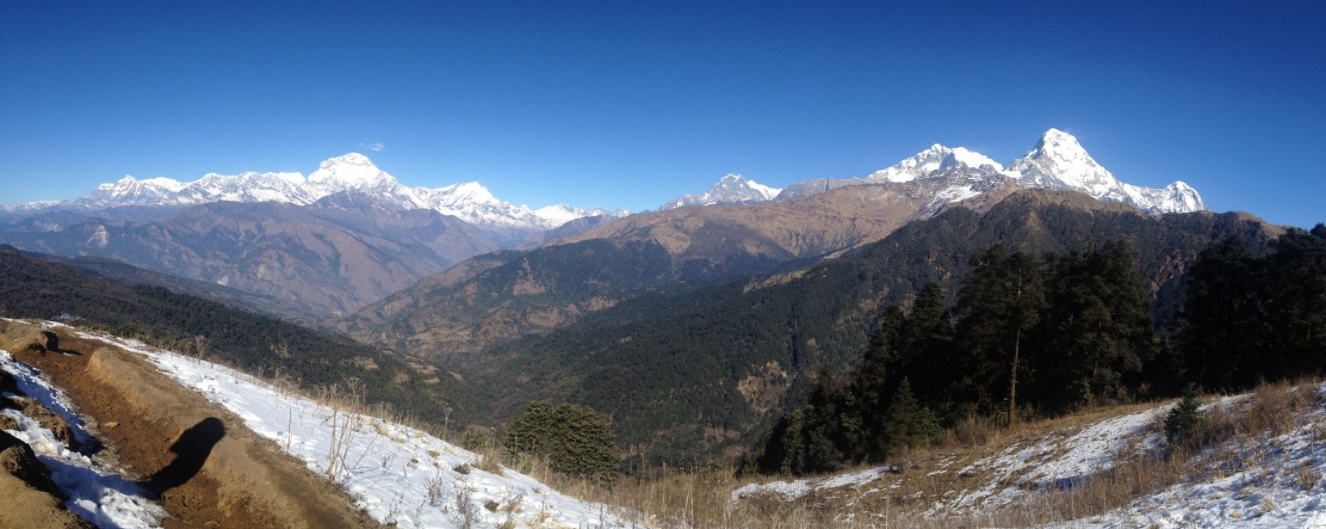 View of Mt. Dhaulagiri and mt. Annapurna ranges  near Ghorepani