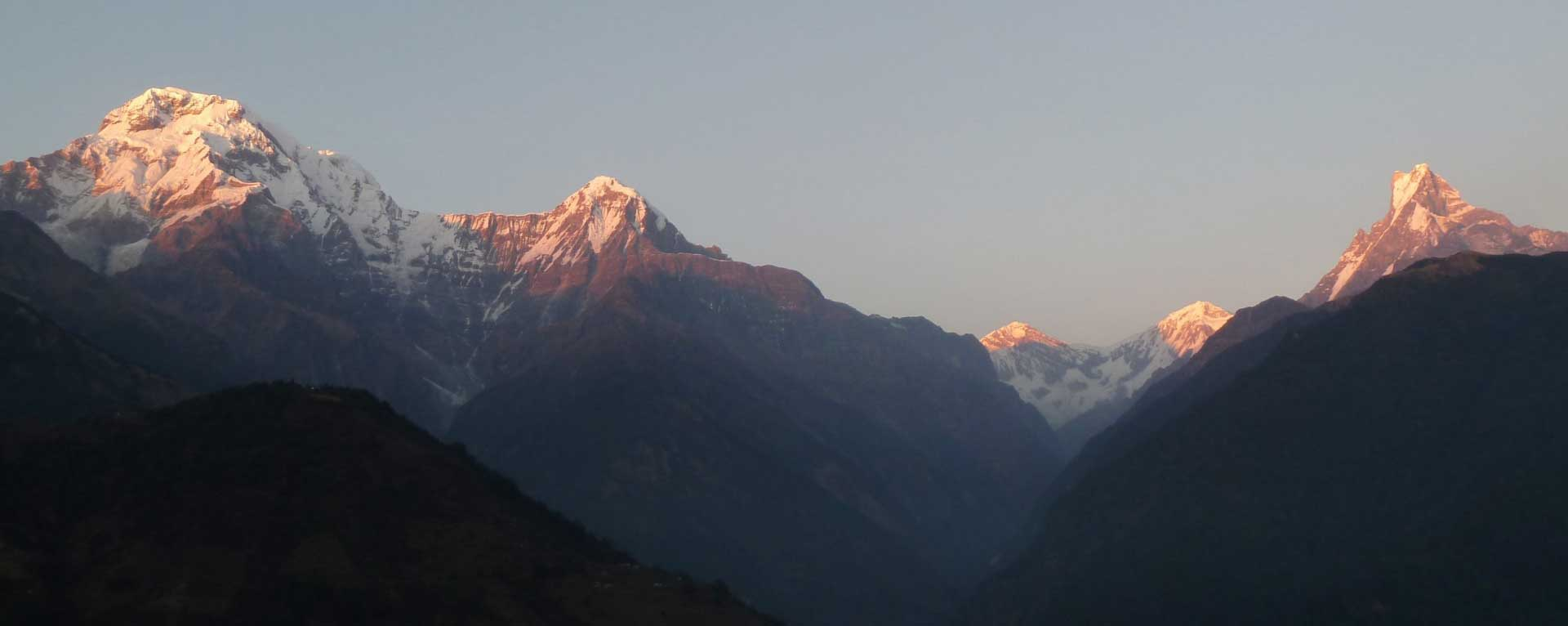 Sunset over Annapurna and fishtail mountains. The view from Ghandruk.