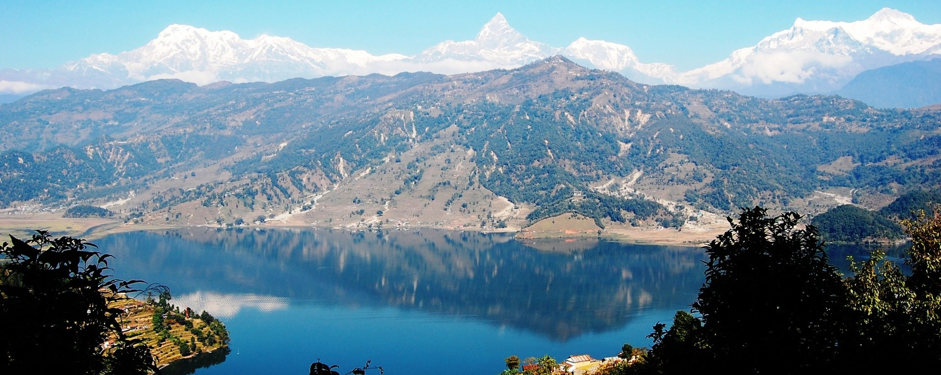 The view of Fewa lake and Annapurna mountain ranges from World Peace Stupa.