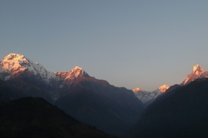 sunset view over Annapurna south, Hiunchuli peak and fishtail mountains.