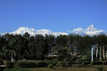 The mountain scenery  from Pokhara.