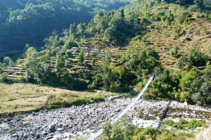 The suspension bridge of remote village.