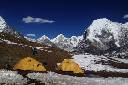 The panoramic mountain view of Rolwaling valley from Base Camp of Yalung Ri.