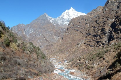 The famous sherpa village of Beding with Gaurishanker mountain in the background.