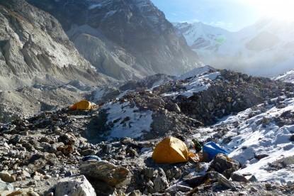 Camping at the glacier near Kabug.