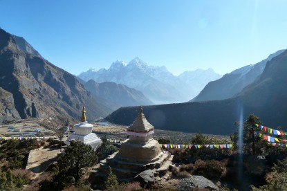 Mountains of Khumbu with nice chortens at Thame.