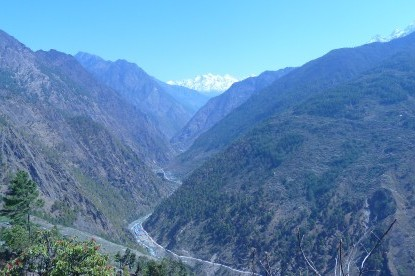 The Bhote koshi valley following through Rasuwa gadhi and tibet mountains.