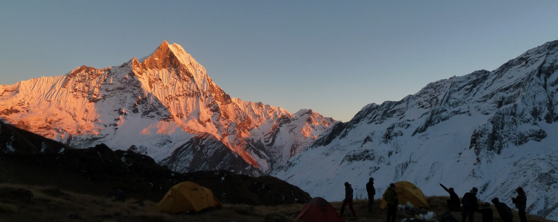 The Sunset view over Mt. Machhapuchhre seen from Tent Peak high camp